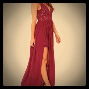 Maroon Lace Chiffon Formal Dress